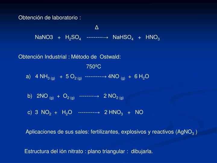 Obtención de laboratorio :