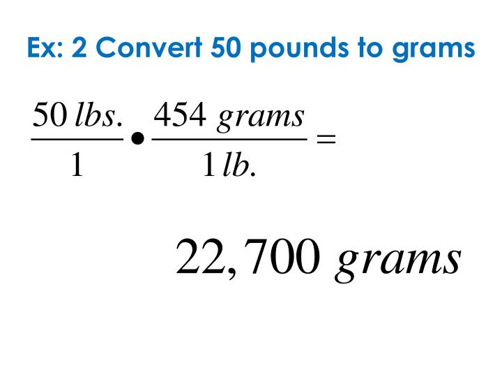 Ex: 2 Convert 50 pounds to grams