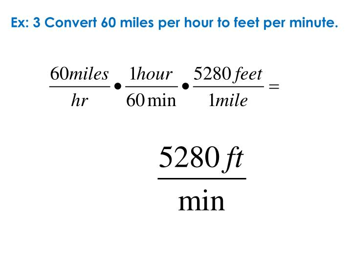 Ex: 3 Convert 60 miles per hour to feet per minute.