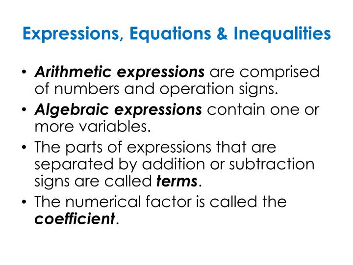 Expressions, Equations & Inequalities
