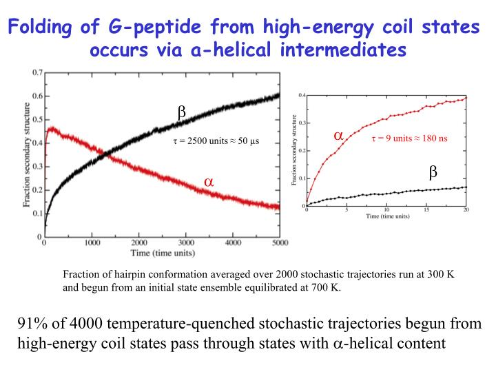 Folding of G-peptide from high-energy coil states