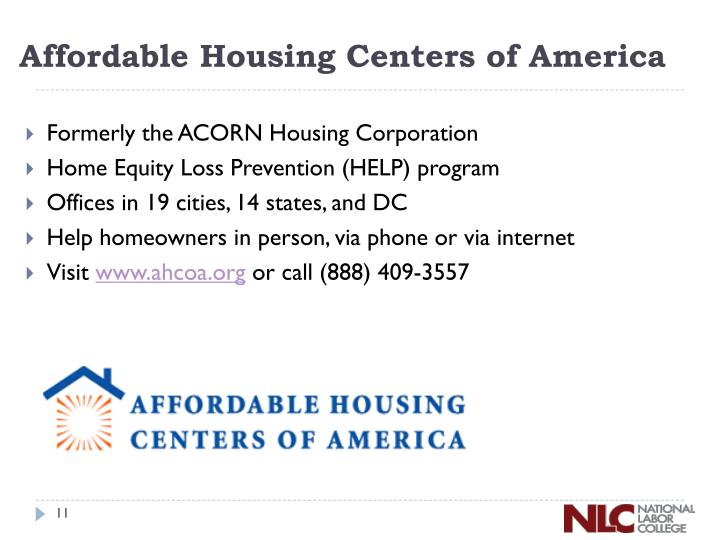 Affordable Housing Centers of America