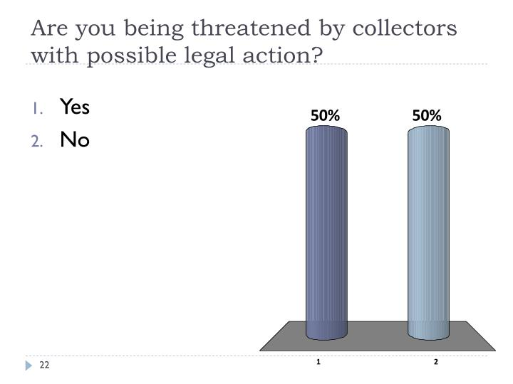 Are you being threatened by collectors with possible legal action?