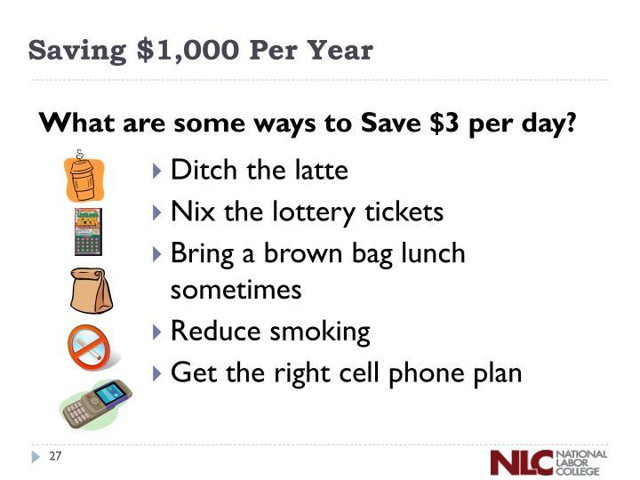 Saving $1,000 Per Year