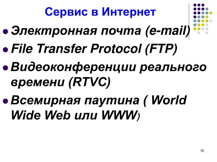 Сервис в Интернет
