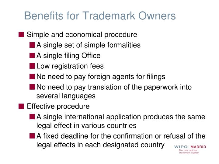 Benefits for Trademark Owners