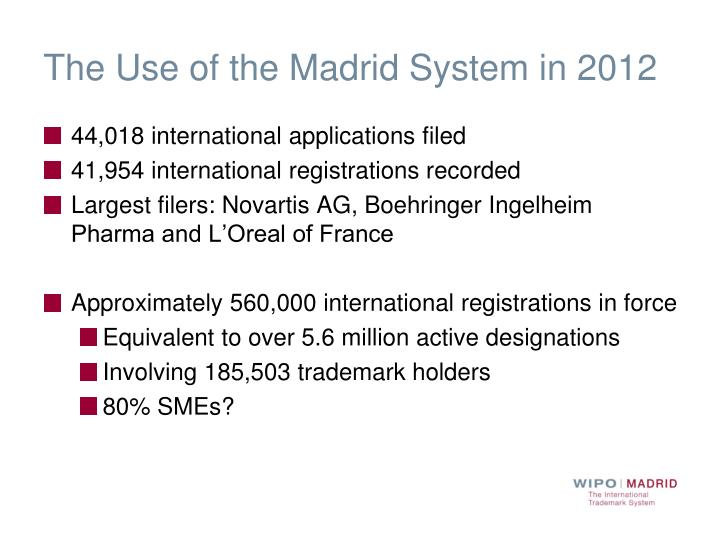 The Use of the Madrid System in 2012