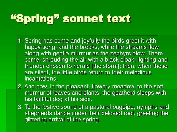 """Spring"" sonnet text"