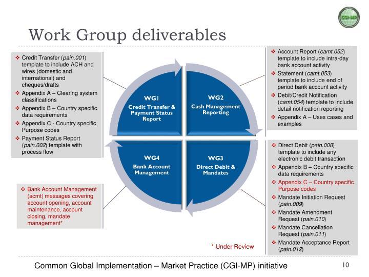 Work Group deliverables