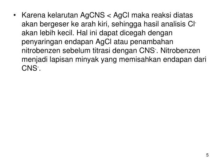 Karena kelarutan AgCNS