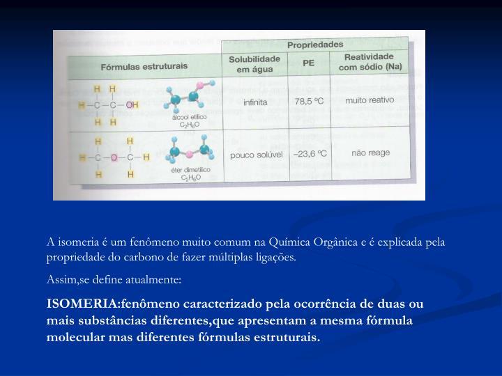 A isomeria é um fenômeno muito comum na Química Orgânica e é explicada pela propriedade do carbono de fazer múltiplas ligações.