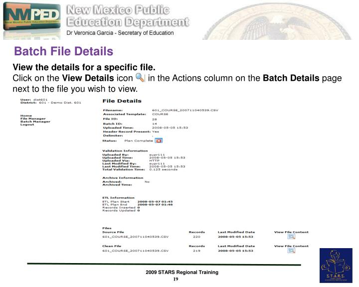 Batch File Details