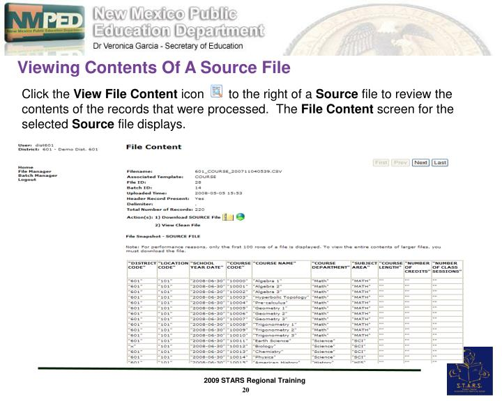 Viewing Contents Of A Source File