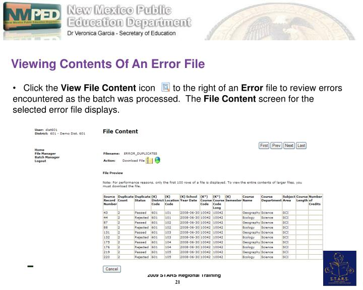 Viewing Contents Of An Error File