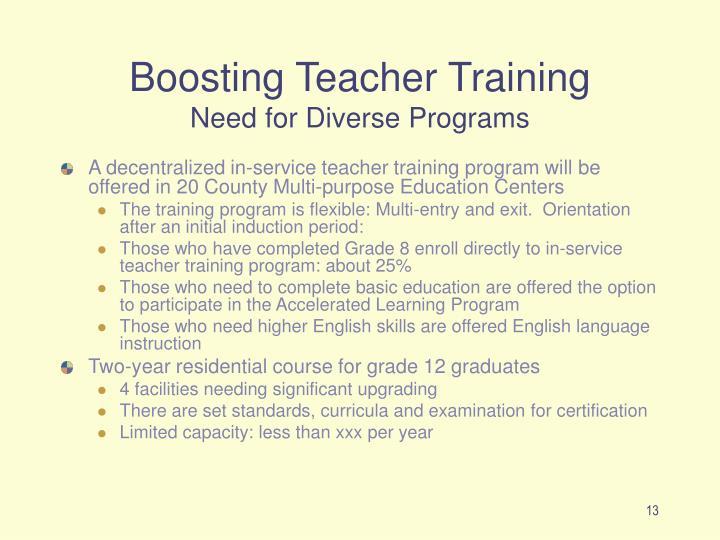 Boosting Teacher Training