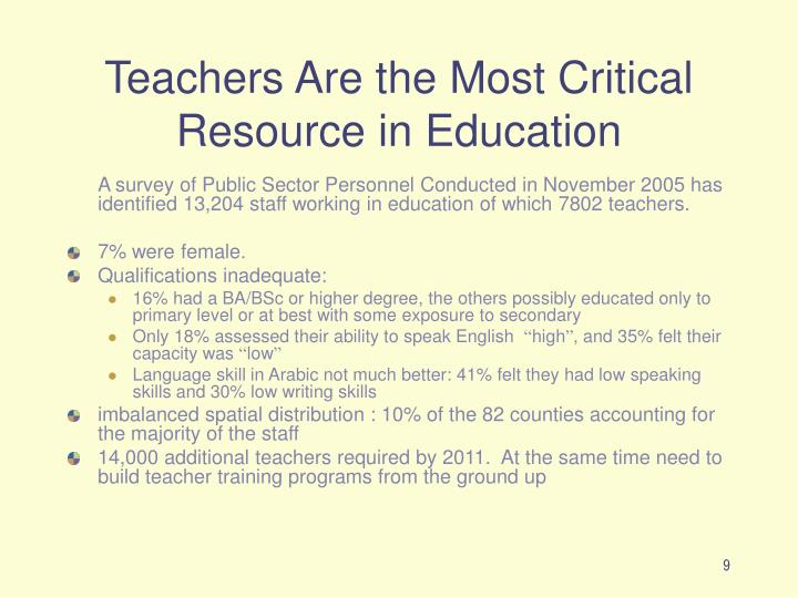 Teachers Are the Most Critical Resource in Education
