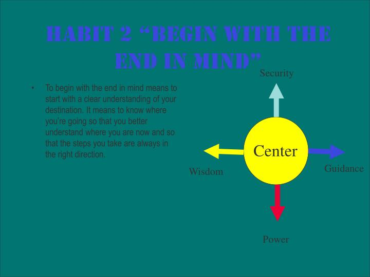 "Habit 2 ""Begin with the End in Mind"""