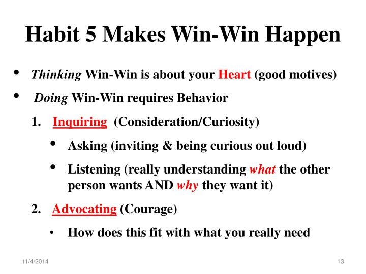 Habit 5 Makes Win-Win Happen