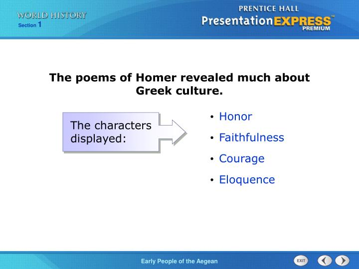 The poems of Homer revealed much about Greek culture.