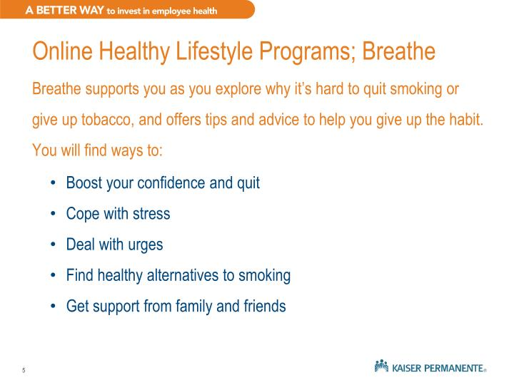 Online Healthy Lifestyle Programs; Breathe