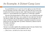 an example a distant camp love
