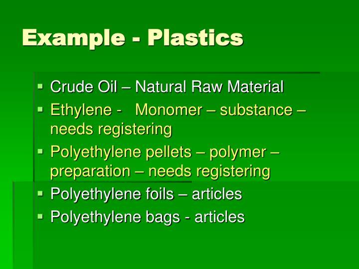 Example - Plastics