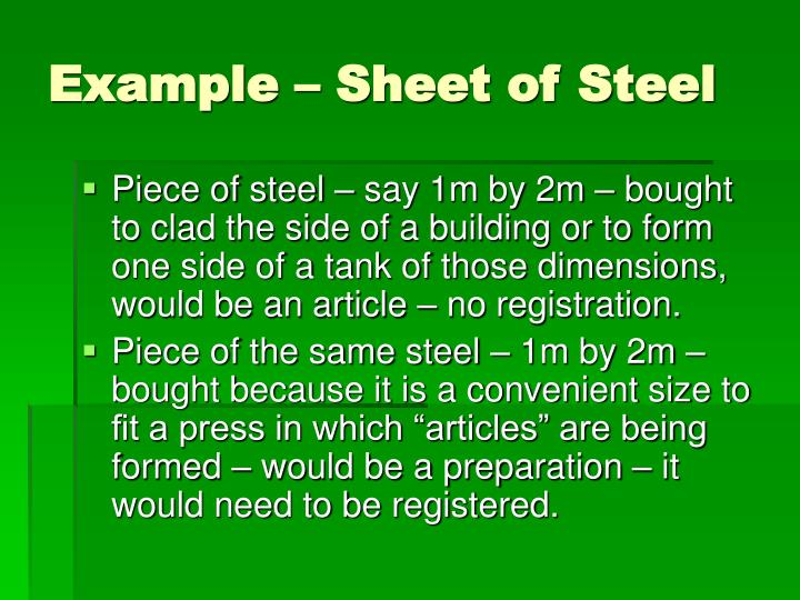 Example – Sheet of Steel