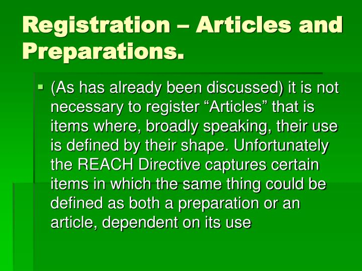 Registration – Articles and Preparations.