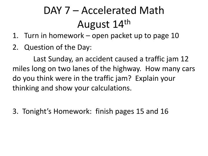 DAY 7 – Accelerated Math