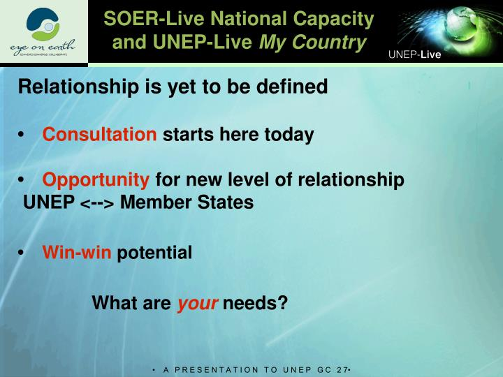 SOER-Live National Capacity and UNEP-Live