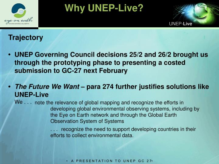 Why UNEP-Live?