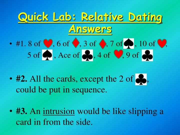 Quick Lab: Relative Dating Answers