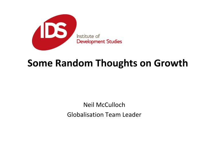 Neil mcculloch globalisation team leader