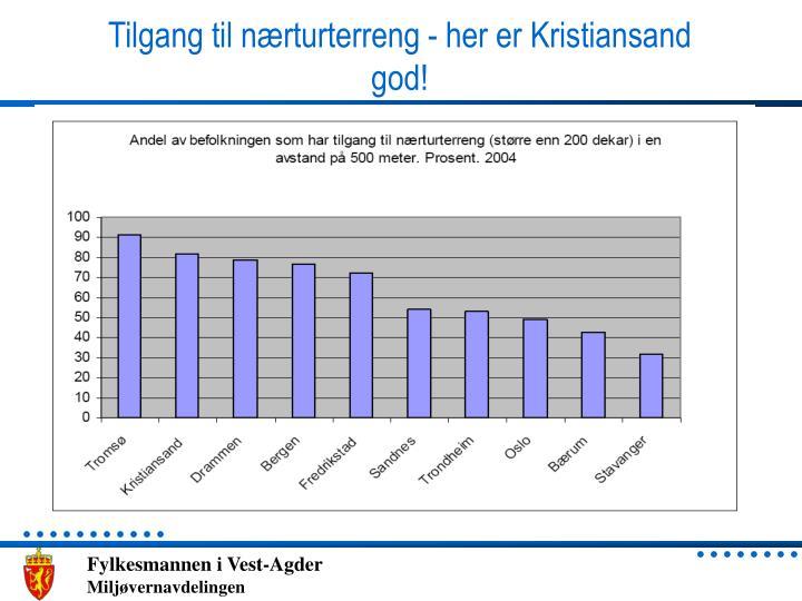 Tilgang til nærturterreng - her er Kristiansand god!
