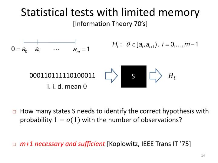 Statistical tests with limited memory
