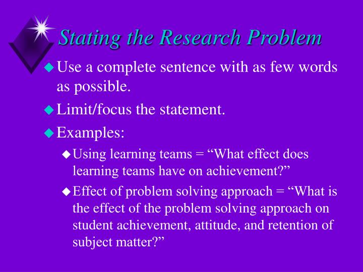 Stating the Research Problem