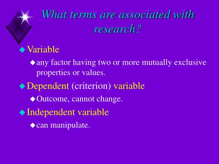 What terms are associated with research?