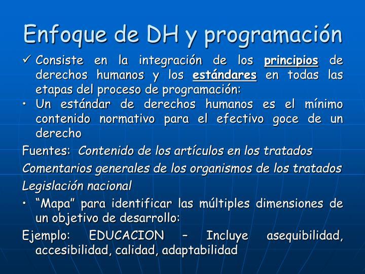 Enfoque de DH y programación