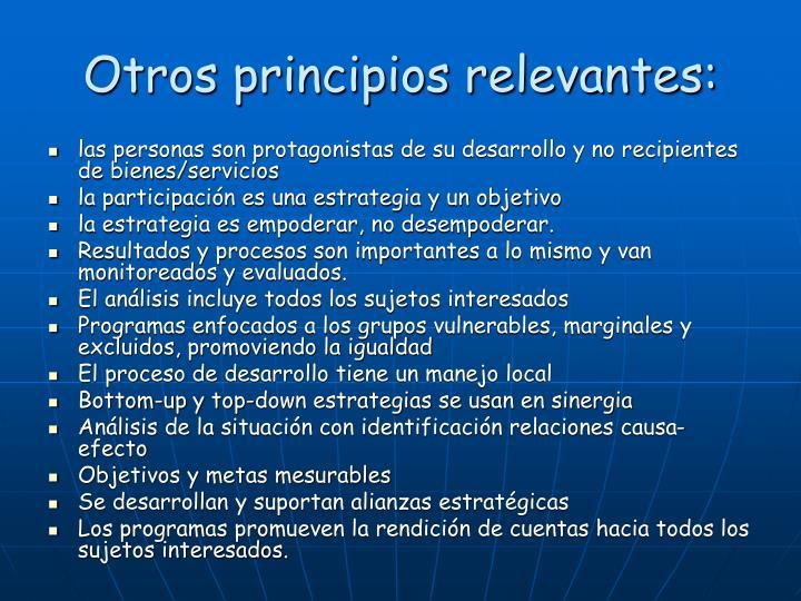 Otros principios relevantes: