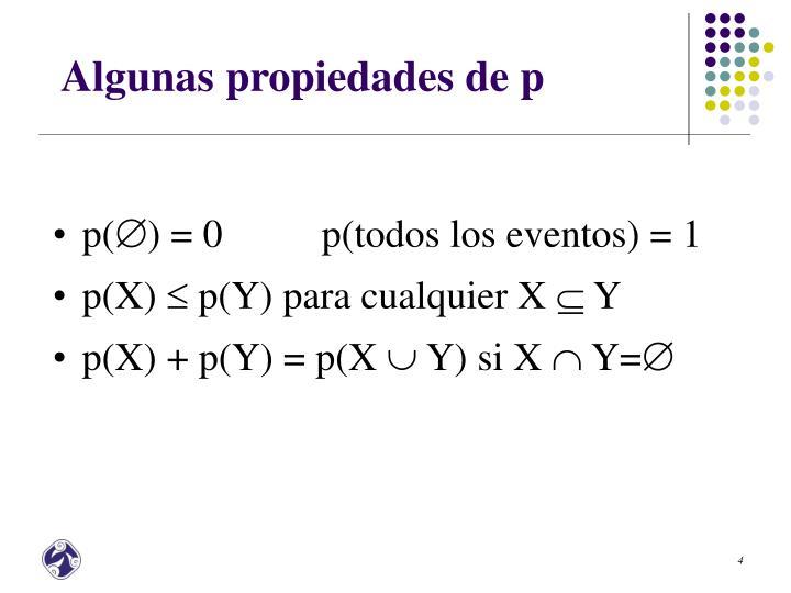 Algunas propiedades de p