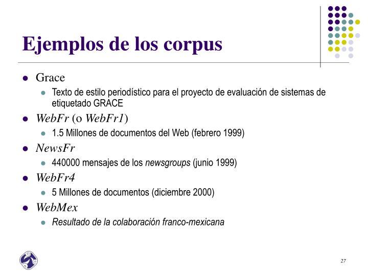 Ejemplos de los corpus