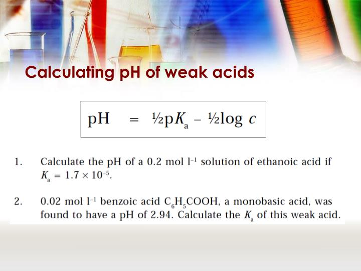 Calculating pH of weak acids
