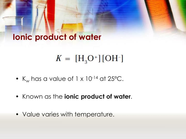 Ionic product of water