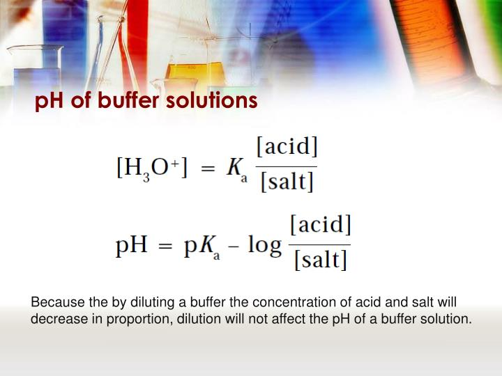 pH of buffer solutions