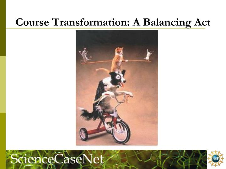 Course Transformation: A Balancing Act