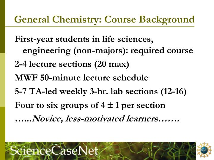 General Chemistry: Course Background