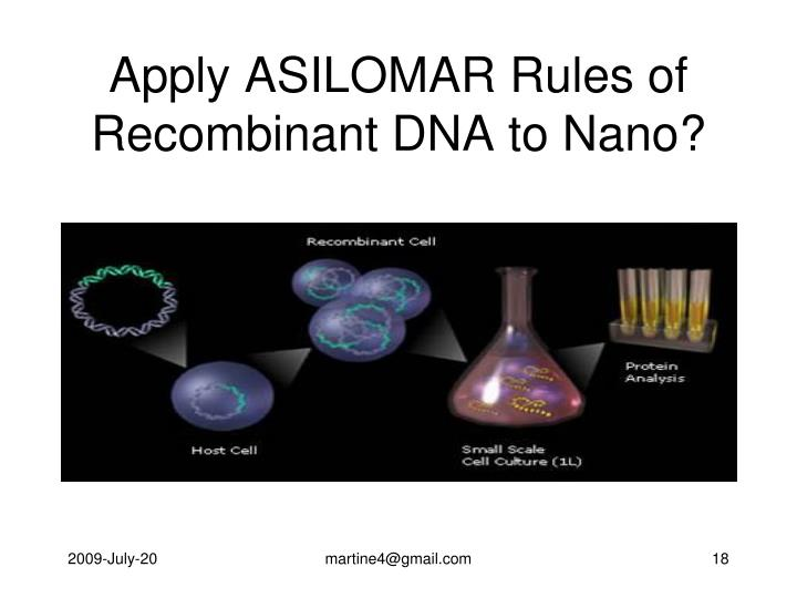 Apply ASILOMAR Rules of Recombinant DNA to Nano?