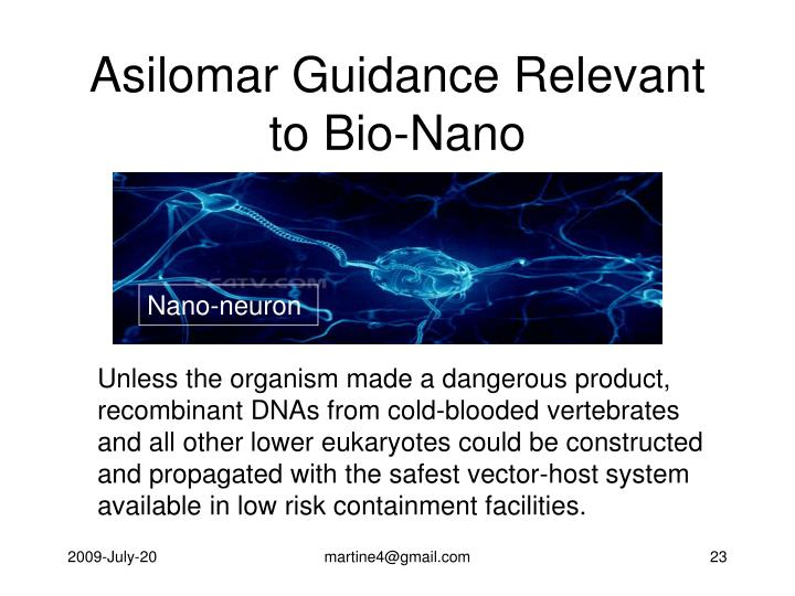 Asilomar Guidance Relevant to Bio-Nano