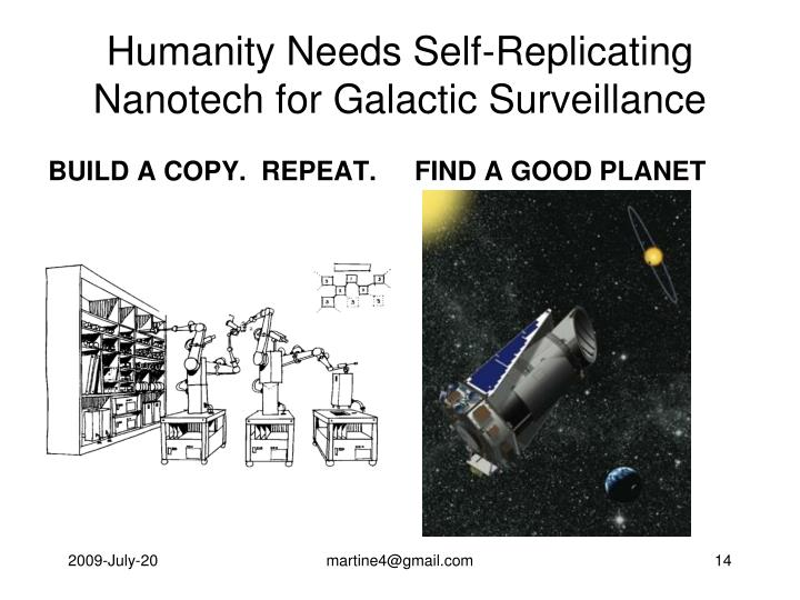Humanity Needs Self-Replicating Nanotech for Galactic Surveillance