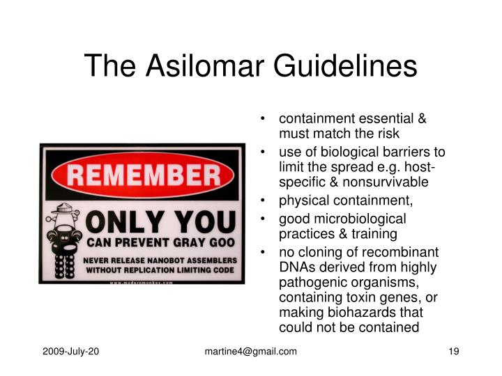 The Asilomar Guidelines